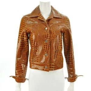 COMME TOUJOURS CROC PATENT LEATHER JACKET SIZE S